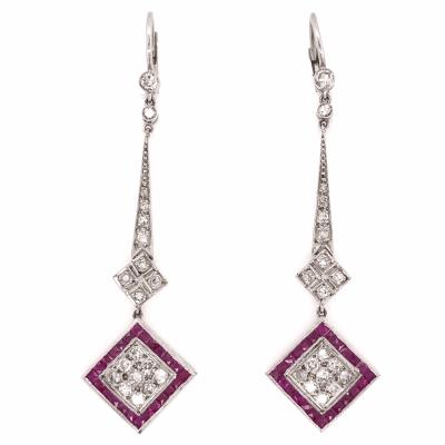 "Closeup photo of Platinum Art Deco .85tcw Diamond & 2.00tcw Ruby Drop Earrings 2.25"" Tall"