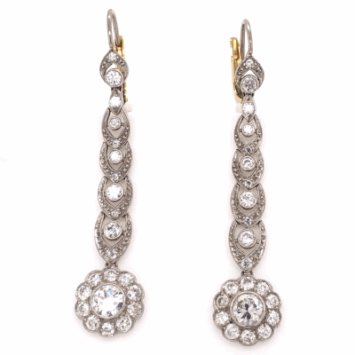 "Closeup photo of Platinum on 18K Yellow Gold Edwardian Diamond Drop Earrings 2.10tcw, 2"" Tall"