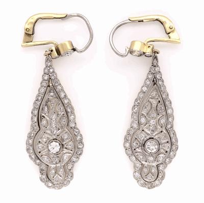 "Closeup photo of Platinum on 18K Yellow Gold Edwardian 1.70tcw Diamond Drop Earrings 10.2g, 2"" Tall"