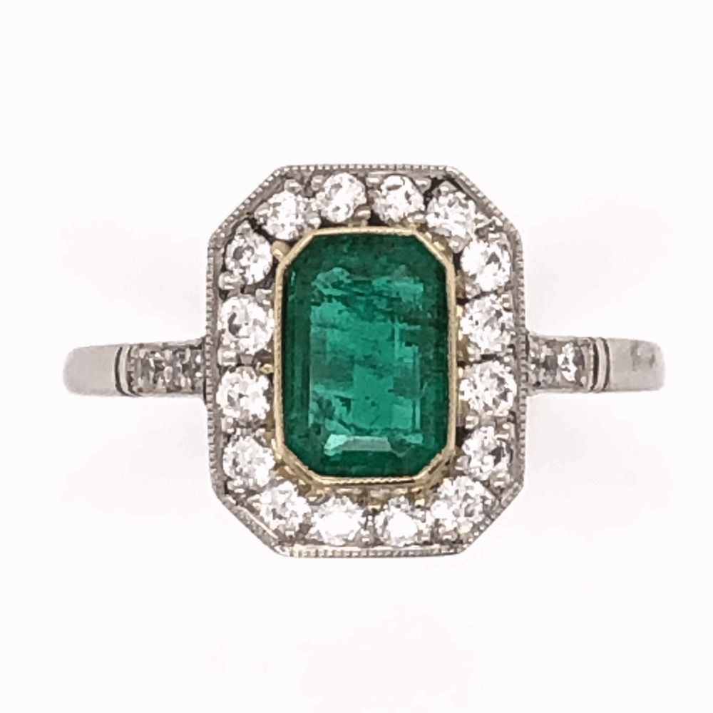 Platinum Art Deco .85ct Emerald Cut Emerald Ring with .46tcw Diamonds, size 7
