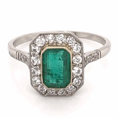 Closeup photo of Platinum Art Deco .85ct Emerald Cut Emerald Ring with .46tcw Diamonds, size 7