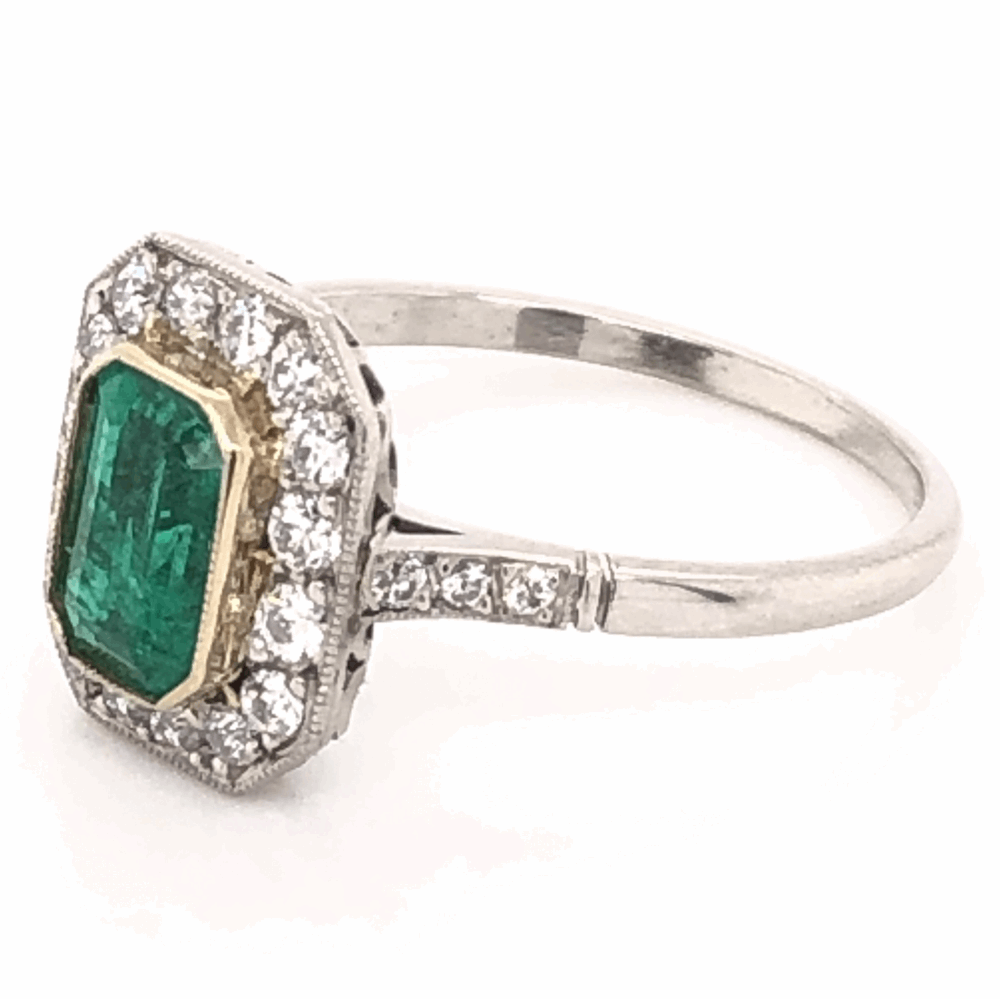 Image 3 for Platinum Art Deco .85ct Emerald Cut Emerald Ring with .46tcw Diamonds, size 7