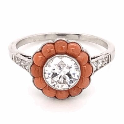 Closeup photo of Platinum Art Deco .82ct Round Brilliant Diamond, Buff top Coral & .09tcw side Diamond Ring, s6.5