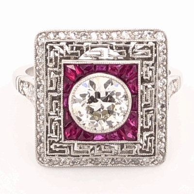 Closeup photo of Platinum Art Deco .93ct Old European Cut Diamond & 1.18tcw Ruby Ring with .56tcw side Diamonds, s7