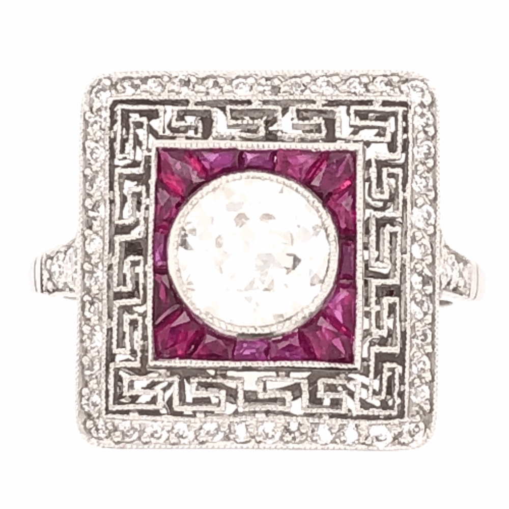 Platinum Art Deco .93ct Old European Cut Diamond & 1.18tcw Ruby Ring with .56tcw side Diamonds, s7