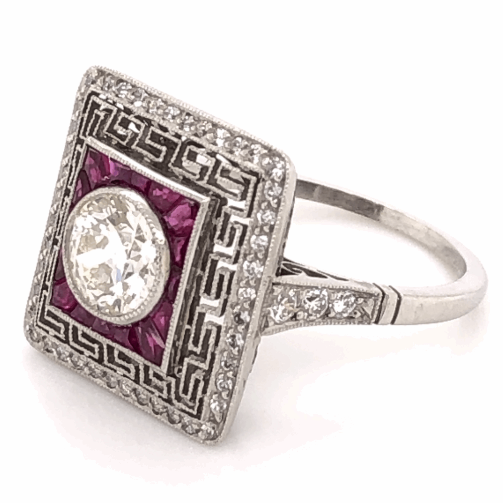 Image 2 for Platinum Art Deco .93ct Old European Cut Diamond & 1.18tcw Ruby Ring with .56tcw side Diamonds, s7
