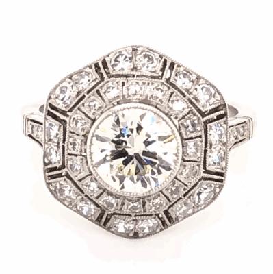 Closeup photo of Platinum Art Deco 1.32ct Round Diamond Ring with 1.00tcw Side Diamonds. s6.5