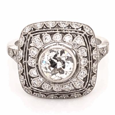 Closeup photo of Platinum Art Deco .93ct Old European Cut Diamond & .69tcw side Diamond Ring, s6.75