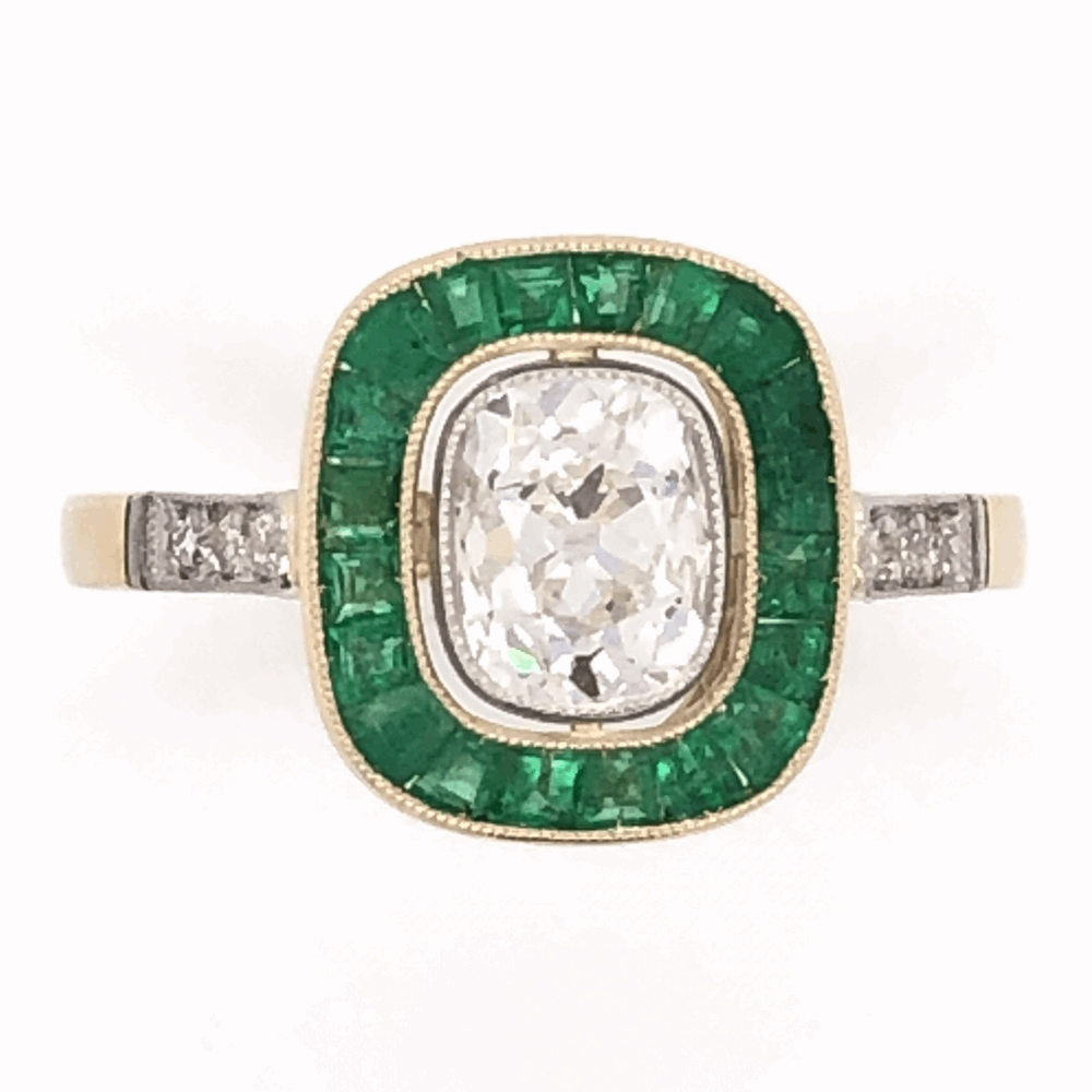 18K Yellow Gold Victorian .97ct Antique Cushion & 1.40tcw Emerald RIng, s7