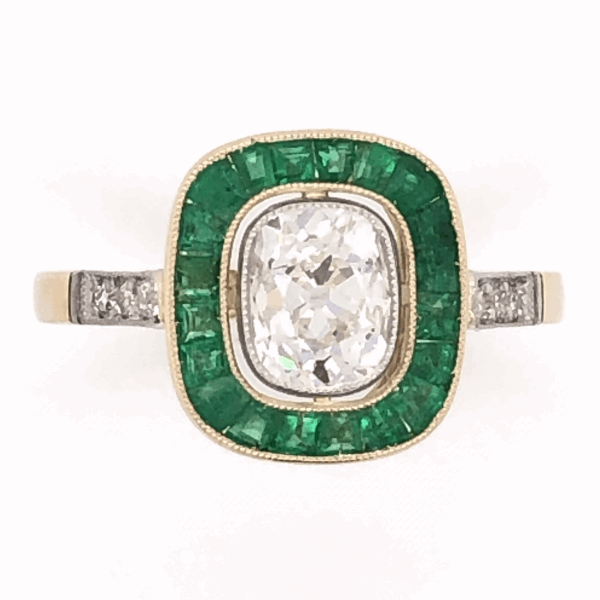 Closeup photo of 18K Yellow Gold Victorian .97ct Antique Cushion & 1.40tcw Emerald RIng, s7