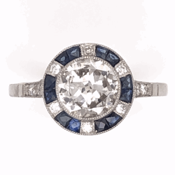 Closeup photo of Platinum Art Deco .98ct Round Brilliant Diamond & .64tcw French Cut Sapphire Ring with .18tcw side Diamonds, s7.5