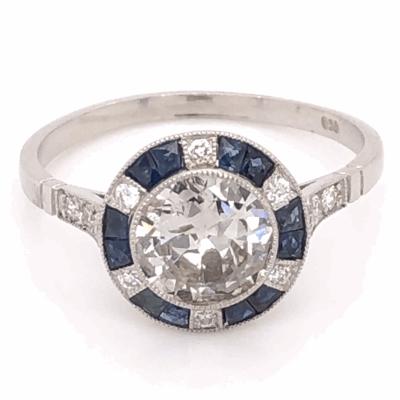 Closeup photo of Platinum Art Deco .98ct Round Brilliant Diamond & .64tcw French Cut Sapphire Ring with .18tcw side Diamonds, s7.5