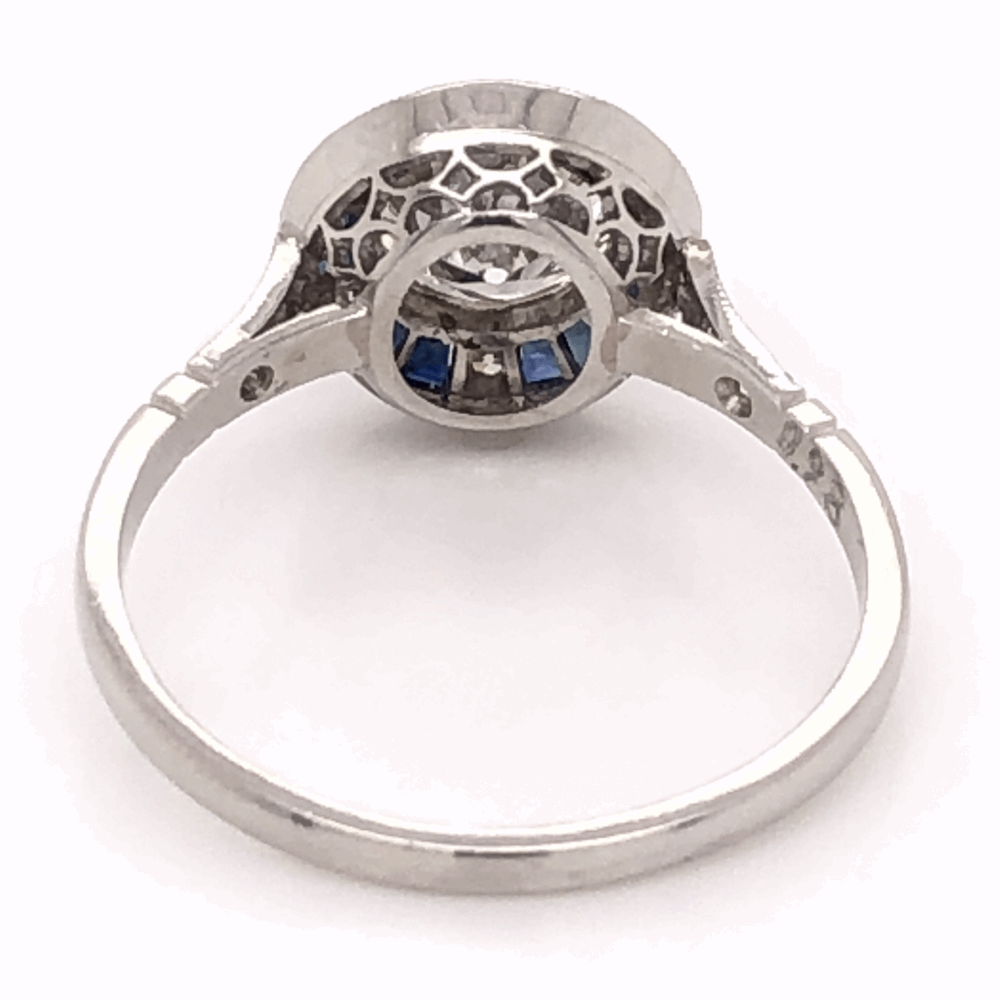 Image 2 for Platinum Art Deco .98ct Round Brilliant Diamond & .64tcw French Cut Sapphire Ring with .18tcw side Diamonds, s7.5