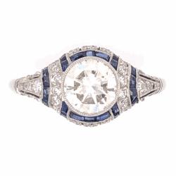 Closeup photo of Platinum Art Deco 1.04ct Round Brilliant & .48tcw Sapphire Filigree Ring, s6.5