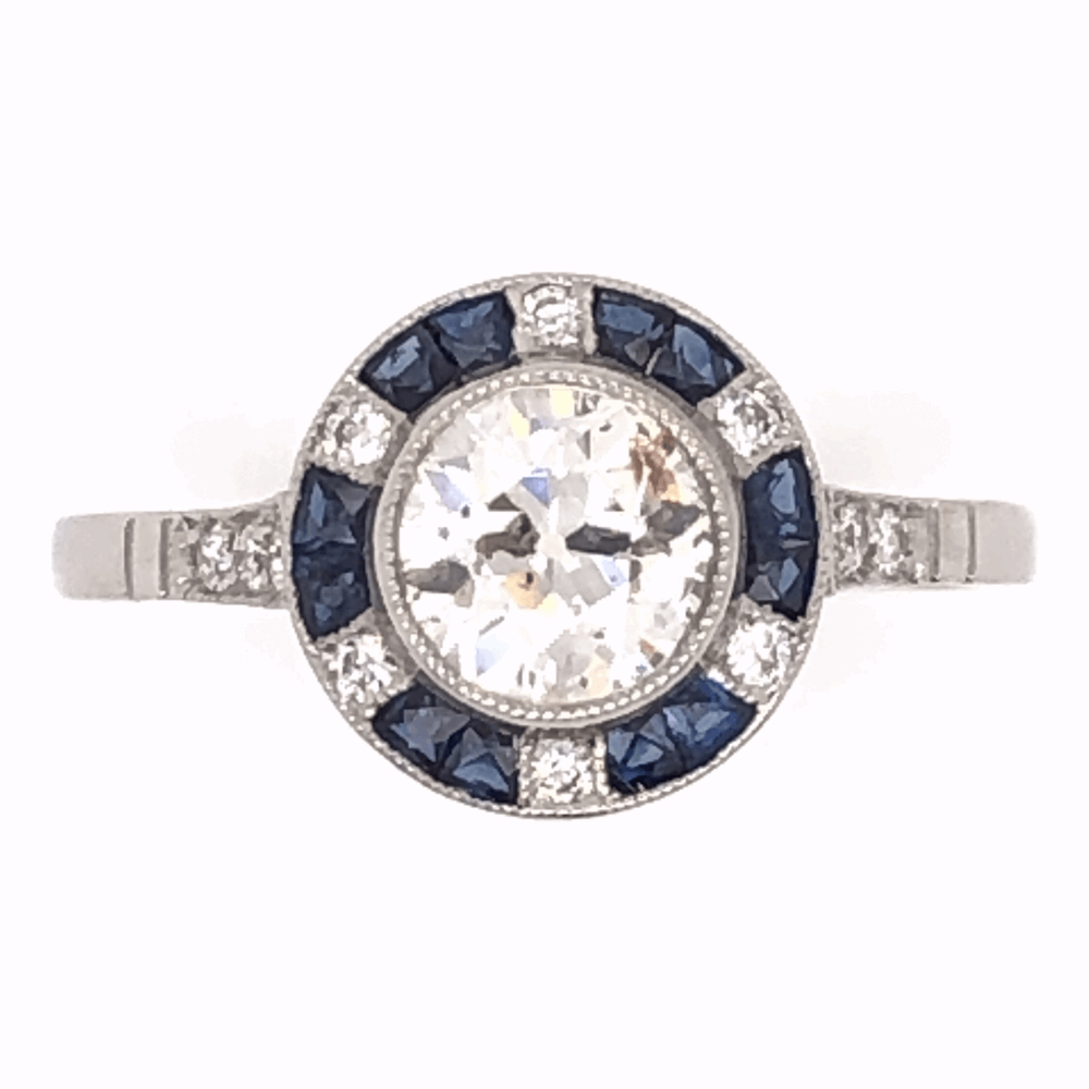 Platinum Art Deco .92ct Old European Cut Diamond & .48tcw Sapphire Ring, s7.5