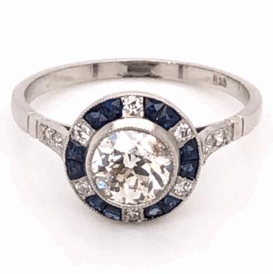 Closeup photo of Platinum Art Deco .92ct Old European Cut Diamond & .48tcw Sapphire Ring, s7.5