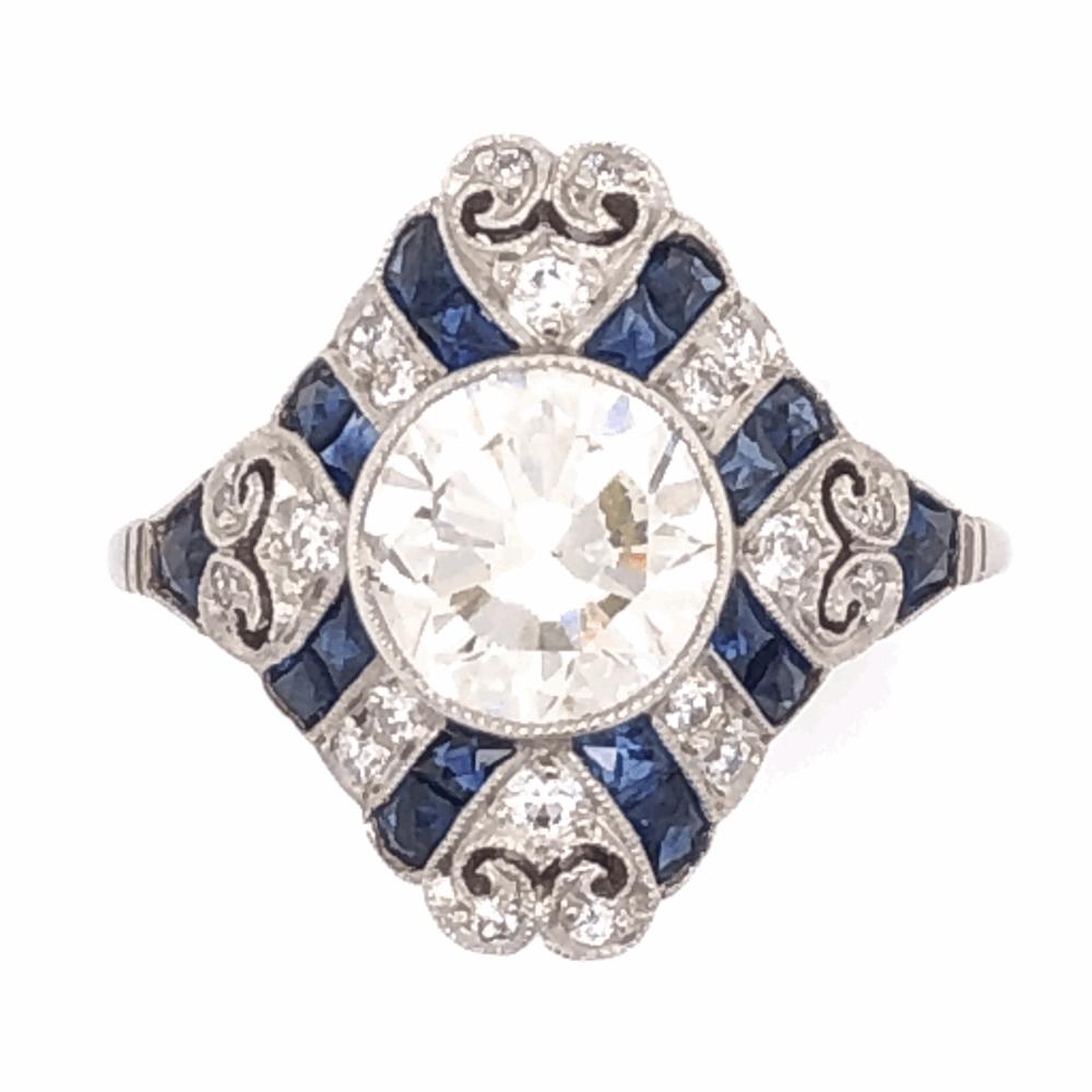 Platinum Art Deco 1.52tcw Antique Round Diamond & 1.21tcw Sapphire Ring. s5