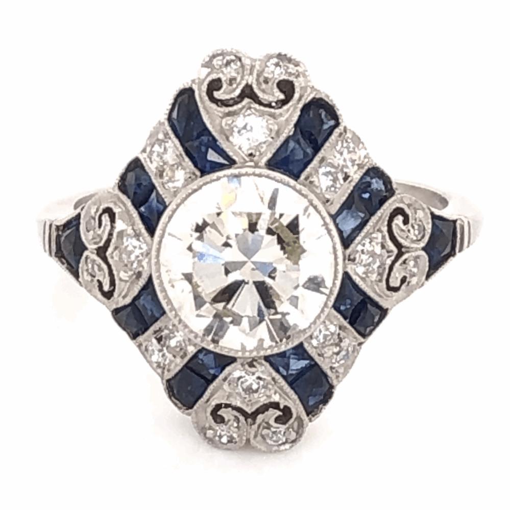 Image 2 for Platinum Art Deco 1.52tcw Antique Round Diamond & 1.21tcw Sapphire Ring. s5