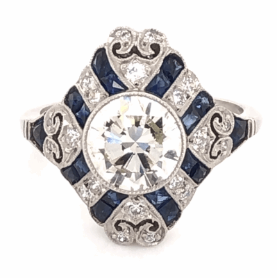 Closeup photo of Platinum Art Deco 1.52tcw Antique Round Diamond & 1.21tcw Sapphire Ring. s5
