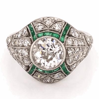 Closeup photo of Platinum Art Deco 1.23ct Old European Cut Diamond & .45tcw Emerald Ring, s6.5