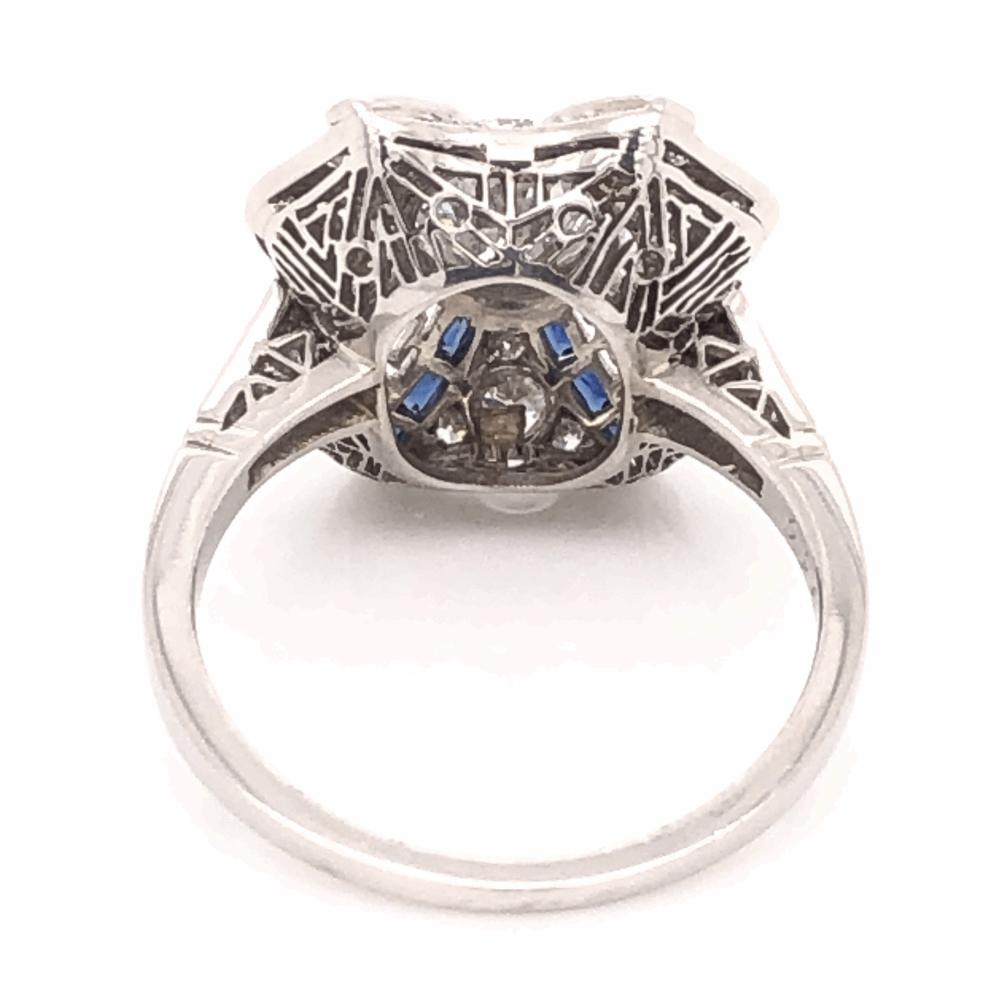 Image 2 for Platinum Art Deco .96ct Round Brilliant Diamond & .42tcw Sapphire Ring, s6.5