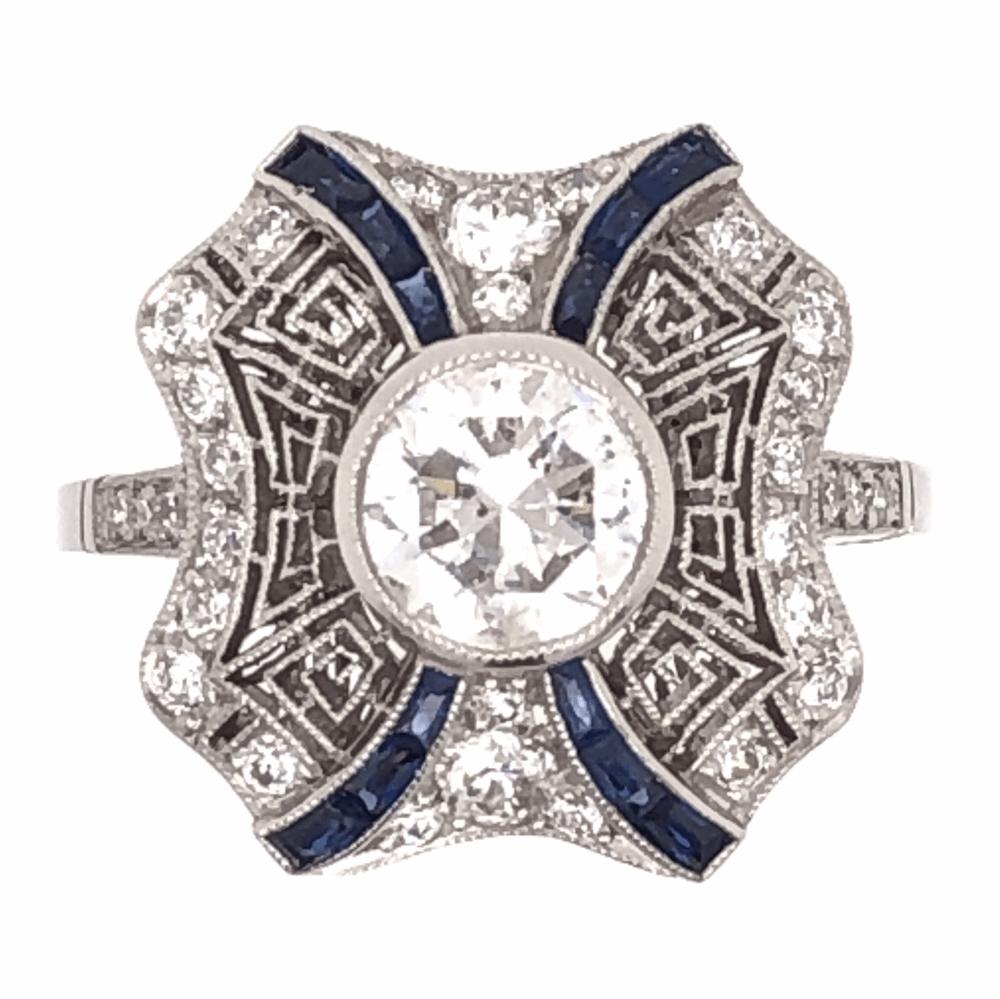 Platinum Art Deco .96ct Round Brilliant Diamond & .42tcw Sapphire Ring, s6.5