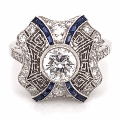 Closeup photo of Platinum Art Deco .96ct Round Brilliant Diamond & .42tcw Sapphire Ring, s6.5