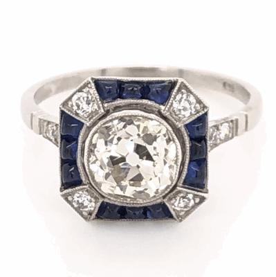 Closeup photo of Platinum Art Deco 1.68ct Old European Diamond & .80tcw Sapphire Ring, s7.5
