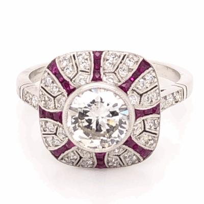 Closeup photo of Platinum Art Deco 1.06ct Round Brilliant Diamond & .54tcw Ruby Ring, s7.5