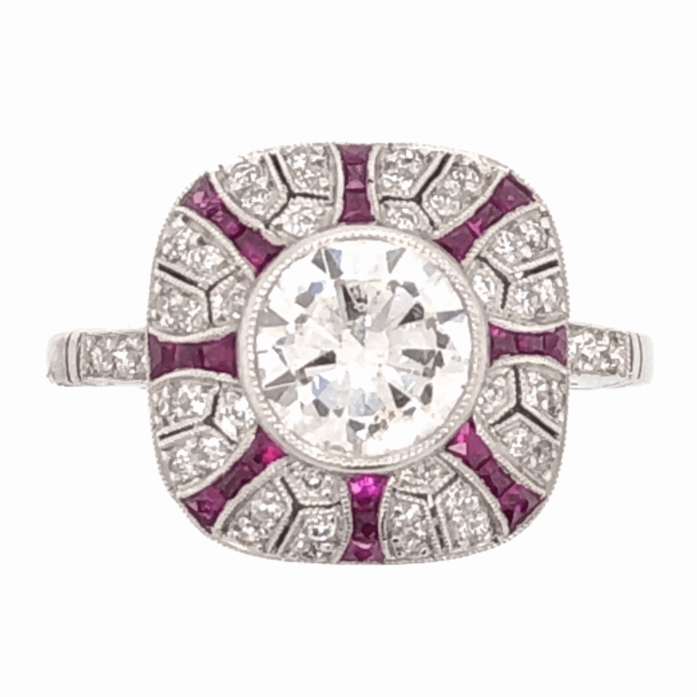 Platinum Art Deco 1.06ct Round Brilliant Diamond & .54tcw Ruby Ring, s7.5