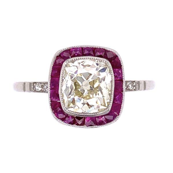 Closeup photo of Platinum Art Deco 1.27 Old Mine Cushion Diamond & .66tcw Ruby Ring, s7