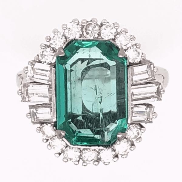 Closeup photo of 18K White Gold 1950's 3.16ct Emerald & 1.50tcw Diamond Ring, s6