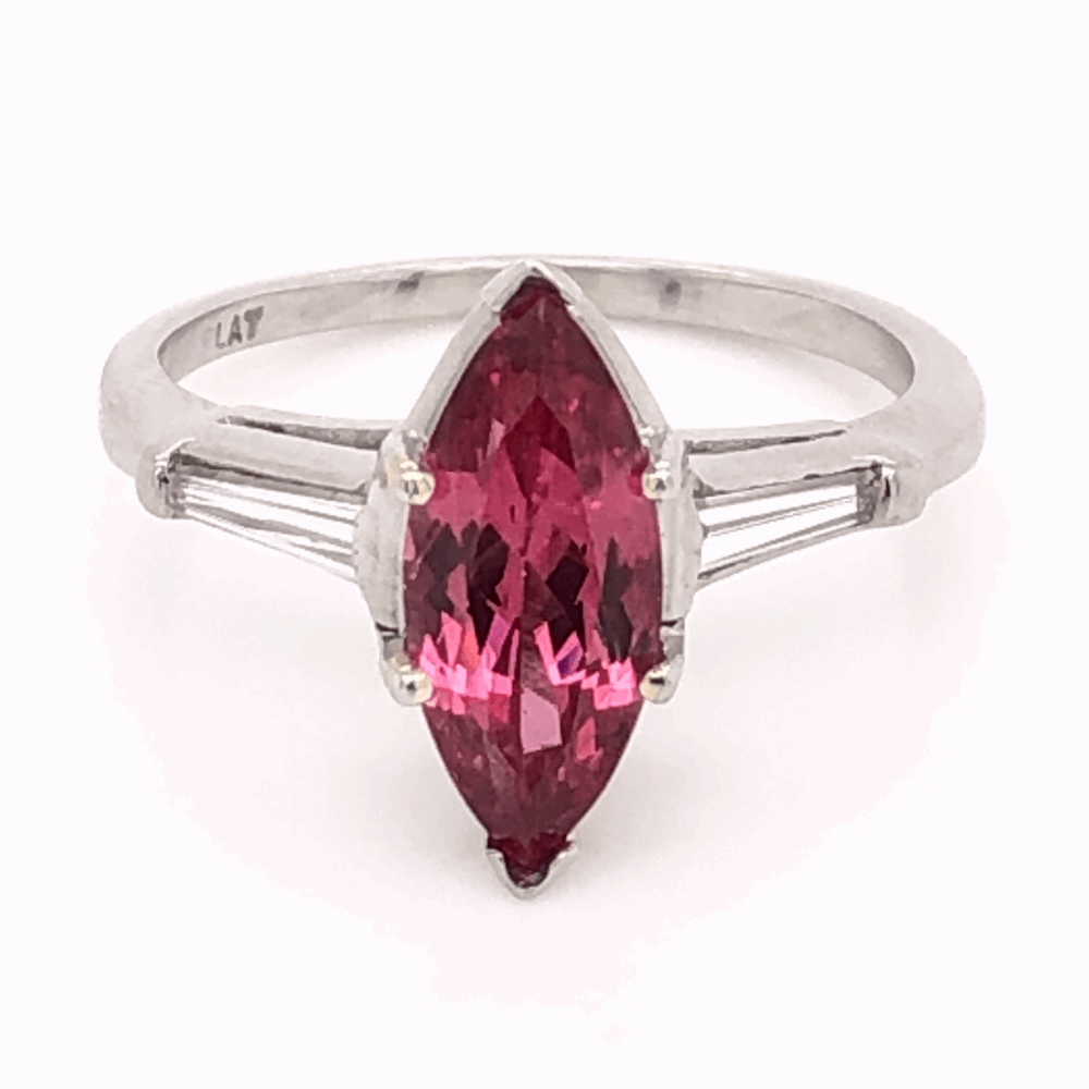 Platinum RARE 2.35ct Marquis Pink Spinel & .24tcw Diamond Ring c1960's, s6.50