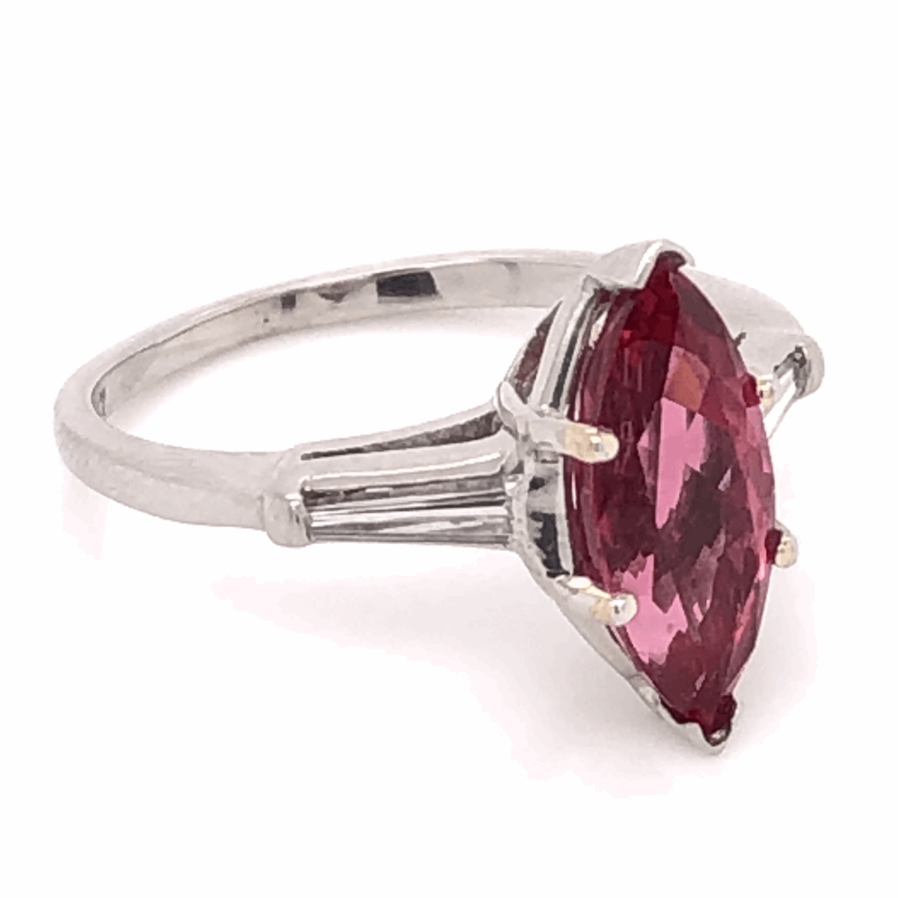 Image 2 for Platinum RARE 2.35ct Marquis Pink Spinel & .24tcw Diamond Ring c1960's, s6.50