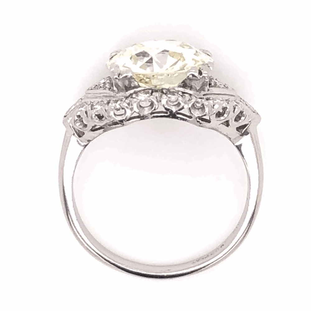 Image 2 for Platinum Art Deco 3.90ct Old European Cut Diamond Ring, s6.50