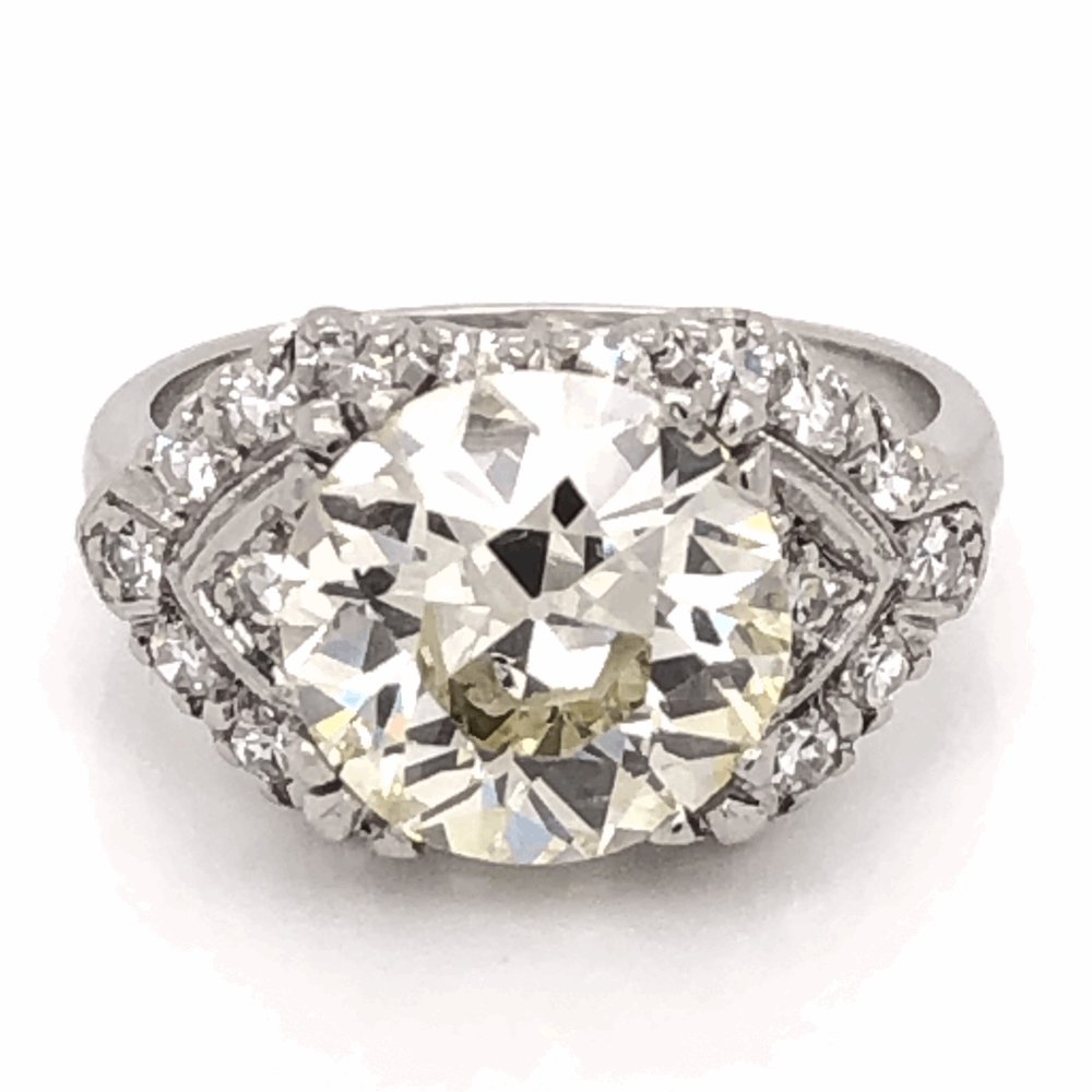 Platinum Art Deco 3.90ct Old European Cut Diamond Ring, s6.50