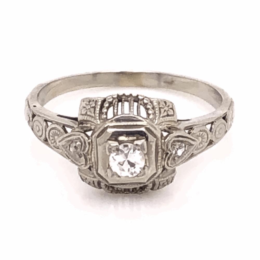 18K White Gold Art Deco Filigree Ring with .13ct Antique Diamond, s6.5