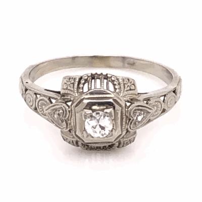Closeup photo of 18K White Gold Art Deco Filigree Ring with .13ct Antique Diamond, s6.5