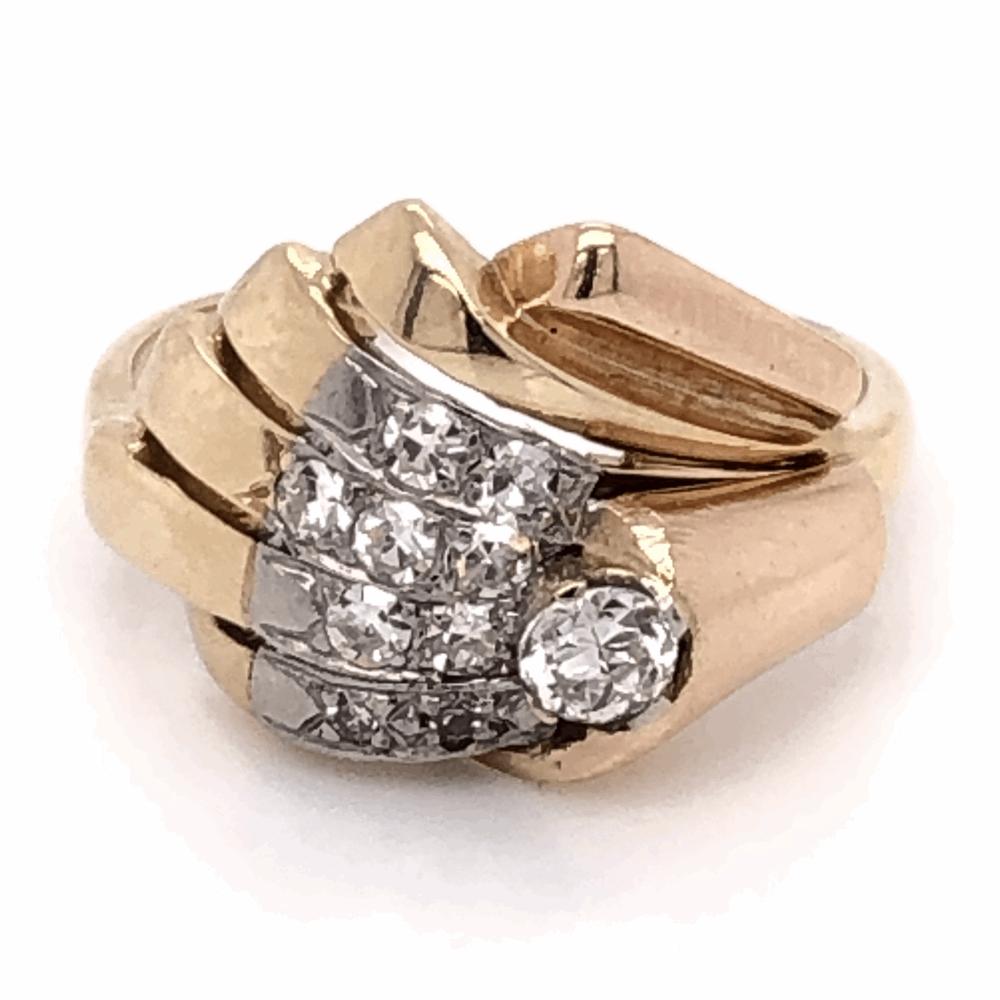 14K Yellow Gold Retro .52tcw Diamond Spray Ring, s6.5