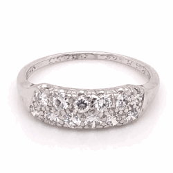 Closeup photo of Platinum 1950's 2 Row Third-Way Diamond Band Ring .48tcw, s6.75