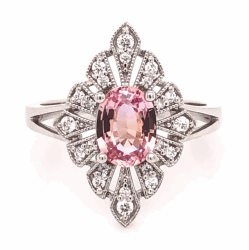 Platinum 1.05ct Oval Padparadscha GIA Lab Report Ring with .25tcw Diamonds, size 6.5