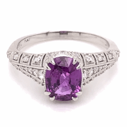 Platinum 1.53ct Cushion NO HEAT Pink Sapphire & .30tcw Diamond Ring, size 6.5