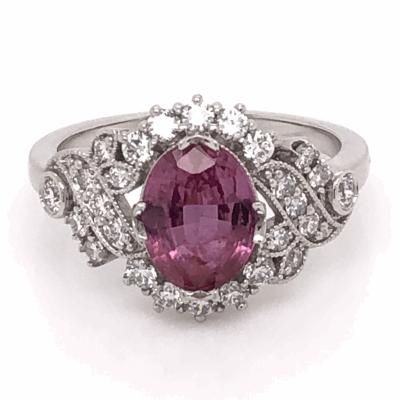 Closeup photo of Platinum 1.81ct  Oval Pink Sapphire GIA lab report & .48tcw Diamond Ring, size 6.5