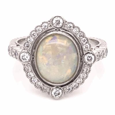 Closeup photo of Platinum Art Deco 1.65ct Australian White Opal & .39tcw Diamond Ring, s6.5