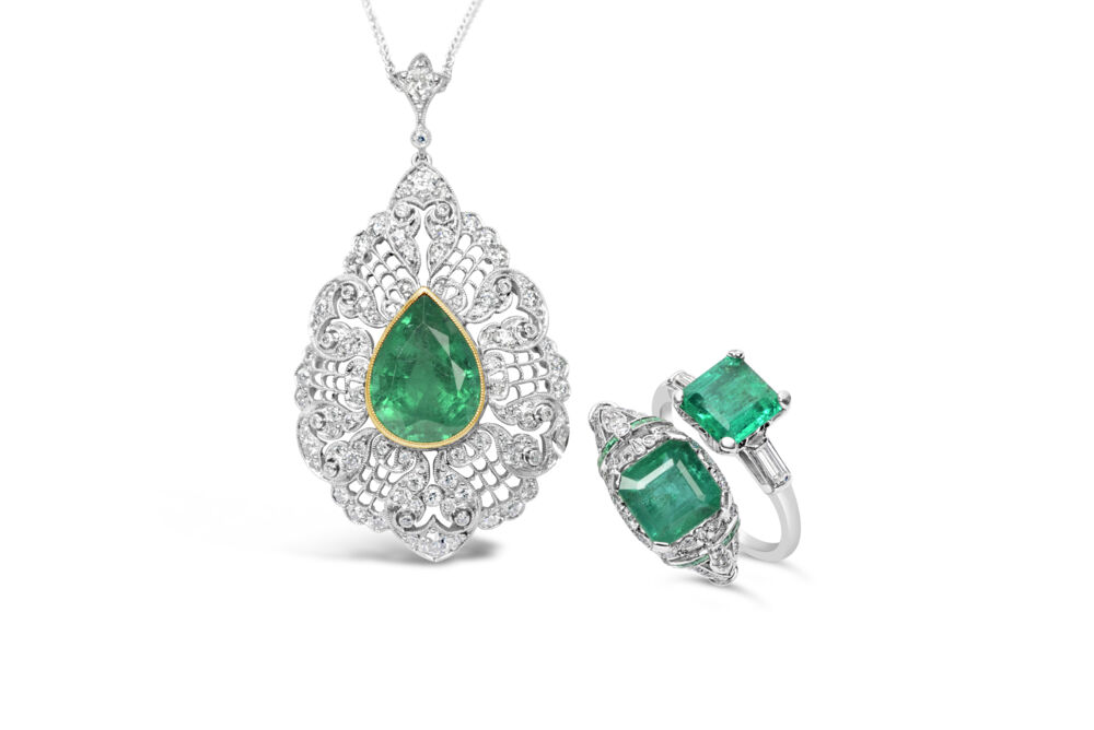 "Image 2 for Platinum & 18K Yellow Gold 5.10ct Pear Shape Emerald GIA & 1.50tcw Diamond Pendant 16"" Chain"