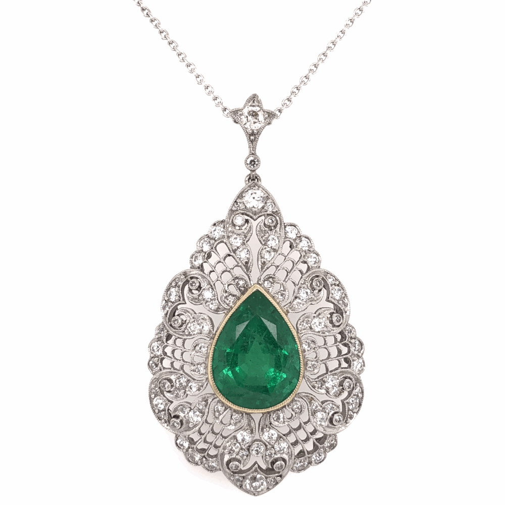 "Platinum & 18K Yellow Gold 5.10ct Pear Shape Emerald GIA & 1.50tcw Diamond Pendant 16"" Chain"