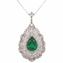 "Closeup photo of Platinum & 18K Yellow Gold 5.10ct Pear Shape Emerald GIA & 1.50tcw Diamond Pendant 16"" Chain"