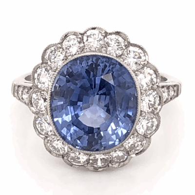 Platinum Oval 6.15ct NO Heat Sapphire GIA & 2.16tcw Diamond Ring, size 7