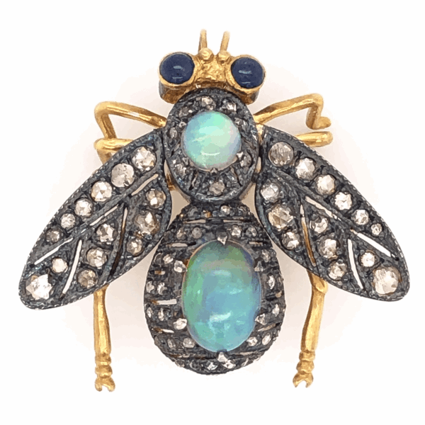 Closeup photo of 925 Sterling & 18K Yellow Gold Bug Brooch with 1.80tcw Opal, 1.18tcw Diamonds & .32tcw Sapphires