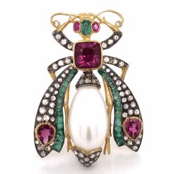 "925 Sterling & 18K Beetle Brooch 2.50tcw Pink Tourmaline, 1.90tcw Diamonds & .83tcw Emeralds 1 5/8"" Tall"